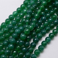 Striped Agate Beads, Green, 10mm Faceted Round