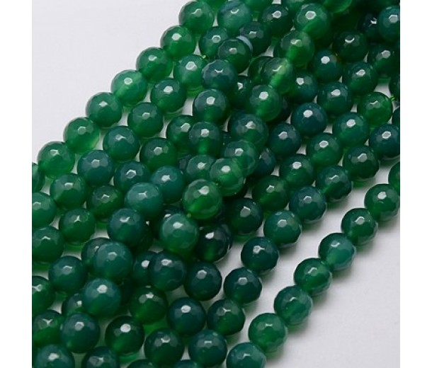Agate Beads, Aventurine Green, 8mm Faceted Round