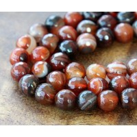 Agate Beads, Red Brown, 8mm Faceted Round