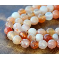 Agate Beads, Bisque Mix, 8mm Faceted Round