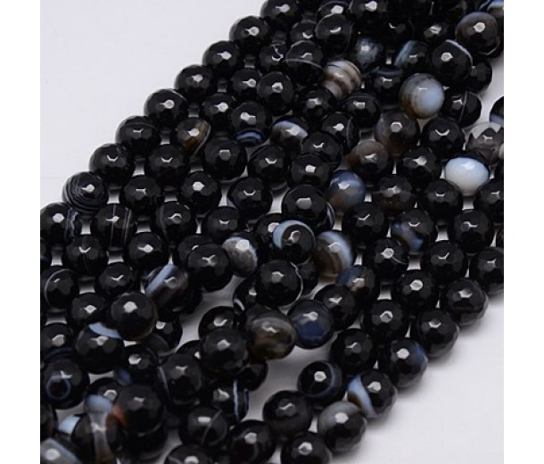 Striped Agate Beads, Black, 8mm Faceted Round