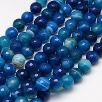 Striped Agate Beads, Blue, 10mm Faceted Round