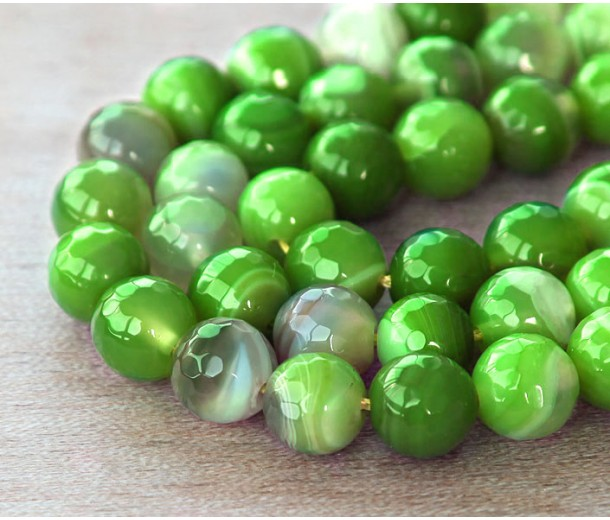 Striped Agate Beads, Apple Green, 8mm Faceted Round