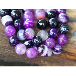 Striped Agate Beads, Purple, 8mm Faceted Round