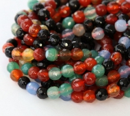 Agate Beads, Dark Mix, 6mm Faceted Round