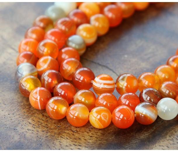 Striped Agate Beads, Orange, 8mm Round