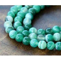 Striped Agate Beads, Green, 6mm Round