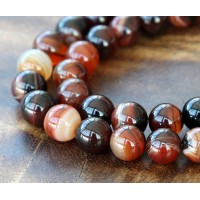 Striped Agate Beads, Chocolate Brown, 8mm Round