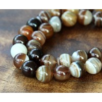 Striped Agate Beads, Brown, 8mm Round
