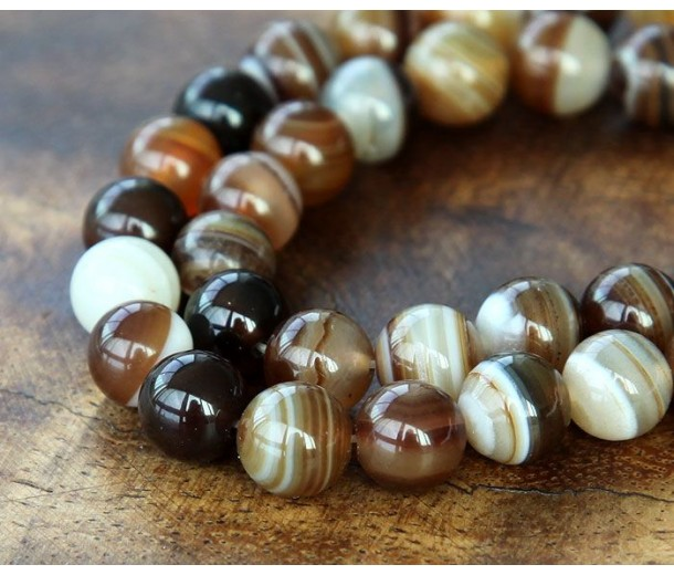 Striped Agate Beads, Brown, 6mm Round