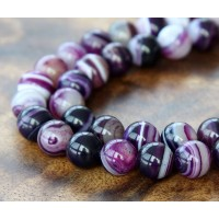 Striped Agate Beads, Purple, 10mm Round