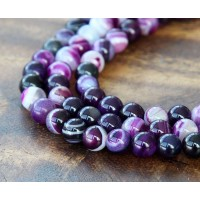 Striped Agate Beads, Purple, 6mm Round
