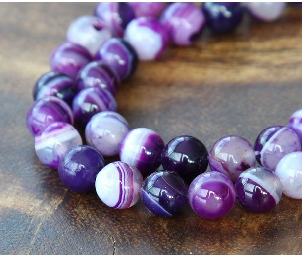 Striped Agate Beads, Purple, 8mm Round