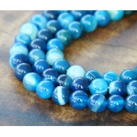 Striped Agate Beads, Blue, 6mm Round