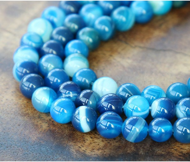 Striped Agate Beads, Blue, 6mm Round, 15 Inch Strand