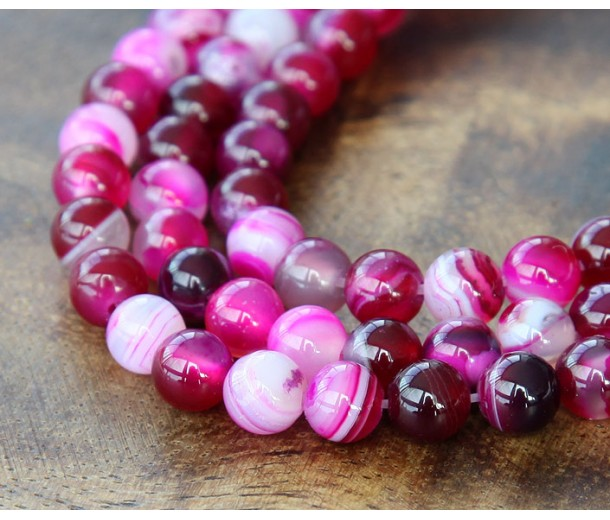 Striped Agate Beads, Fuchsia, 6mm Round
