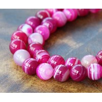 Striped Agate Beads, Fuchsia, 10mm Round