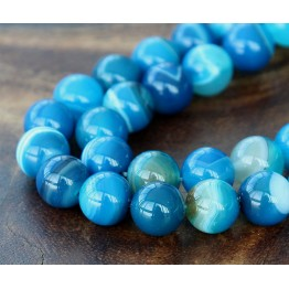 Striped Agate Beads, Blue, 10mm Round