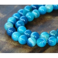 Striped Agate Beads, Blue, 8mm Round