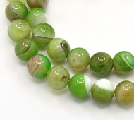 Striped Agate Beads, Apple Green, 8mm Round