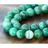 Striped Agate Beads, Green, 8mm Round