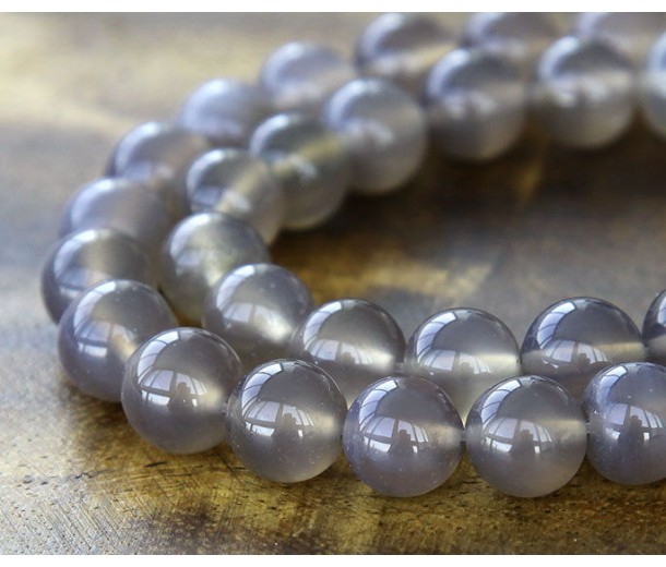 Agate Beads, Smoke Grey, 8mm Round