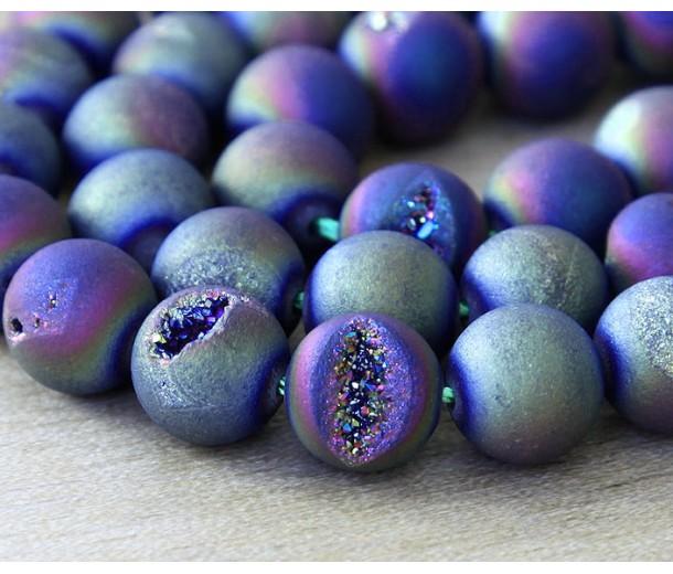 Druzy Agate Beads, Titanium AB, 10mm Round