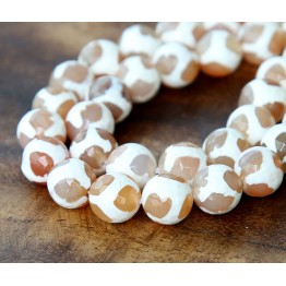 Dzi Agate Beads, White and Tan, 10mm Faceted Round