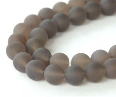 Frosted Agate Beads, Smoke Grey, 10mm Round