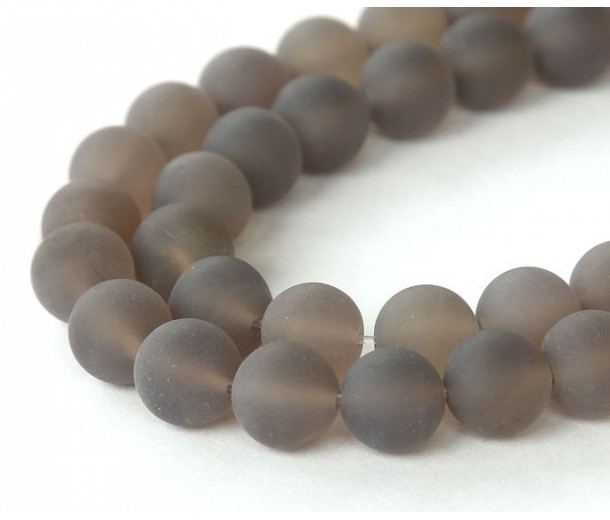 Frosted Agate Beads, Smoke Grey, 8mm Round