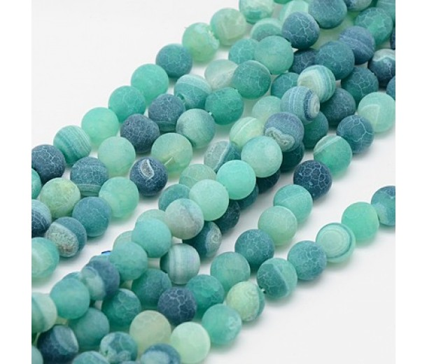 Frosted Agate Beads, Teal, 6mm Round
