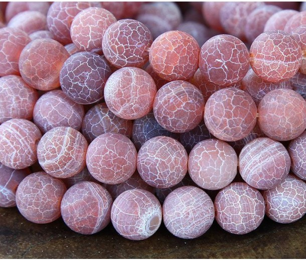Frosted Agate Beads, Indian Red, 8mm Round
