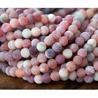 Frosted Agate Beads, Indian Red, 6mm Round