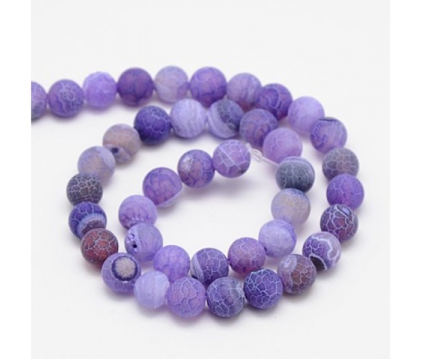 Frosted Agate Beads, Purple, 10mm Round