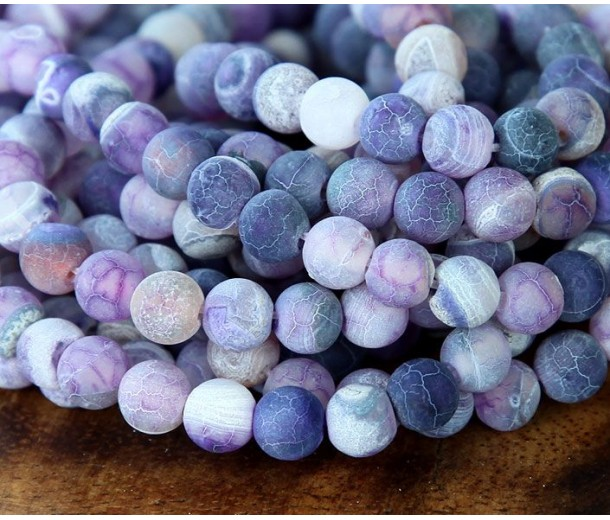 Frosted Agate Beads, Purple, 8mm Round