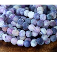 Frosted Agate Beads, Purple, 6mm Round