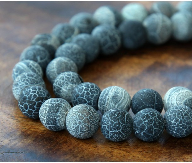 Frosted Agate Beads, Dark Grey, 10mm Round