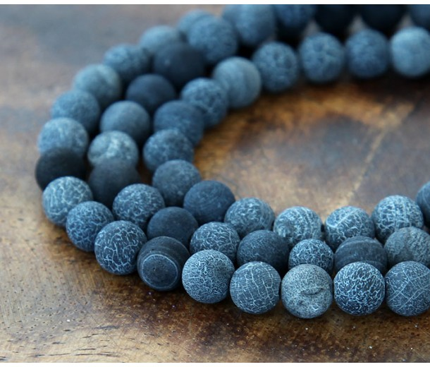 Frosted Agate Beads, Dark Grey, 6mm Round