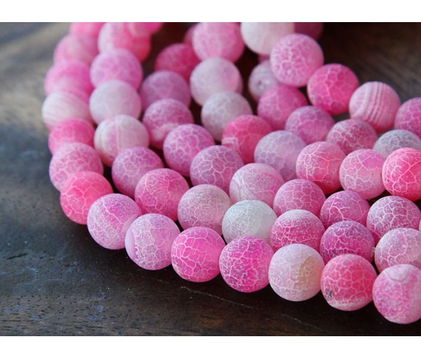 Frosted Agate Beads, Pink, 10mm Round