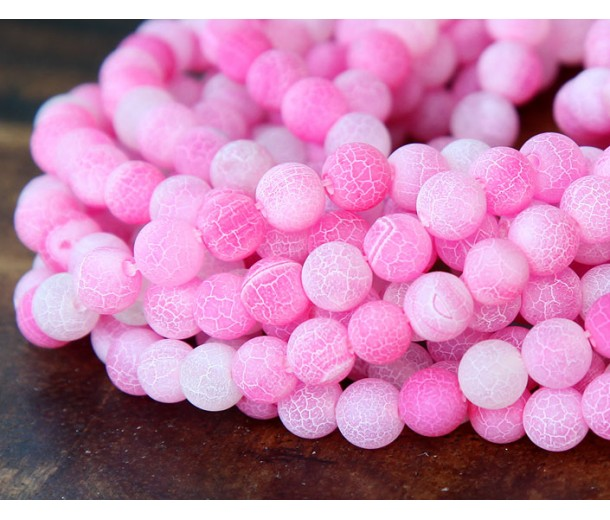 Frosted Agate Beads, Pink, 6mm Round
