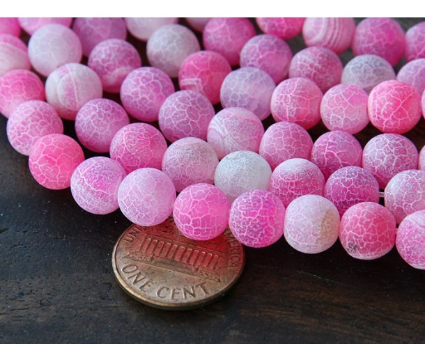 Frosted Agate Beads, Pink, 8mm Round