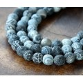 Frosted Agate Beads, Medium Grey, 6mm Round