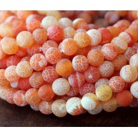 Frosted Agate Beads, Coral, 8mm Round
