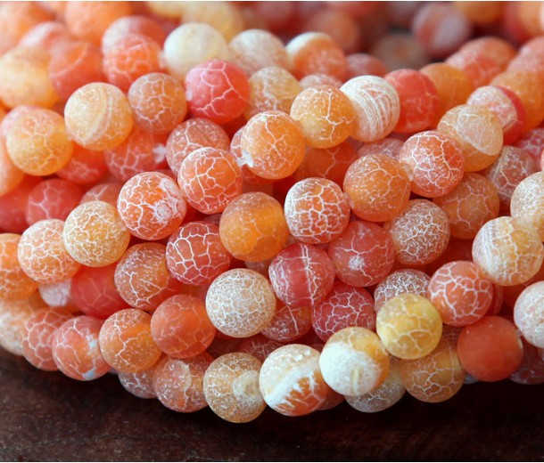 Frosted Agate Beads, Coral, 6mm Round