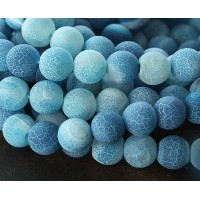 Frosted Agate Beads, Blue, 10mm Round