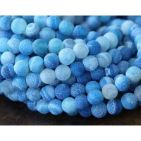 Frosted Agate Beads, Blue, 6mm Round