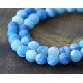 Frosted Agate Beads, Blue, 6mm Round, 15 Inch Strand