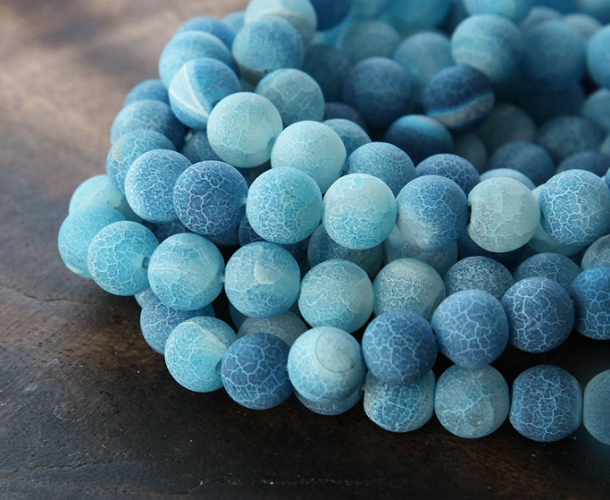 Frosted Agate Beads Blue 8mm Round Golden Age Beads
