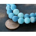 Frosted Agate Beads, Blue, 8mm Round