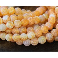Frosted Agate Beads, Orange, 8mm Round